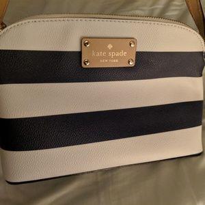 Kate Spade navy blue white striped crossbody bag